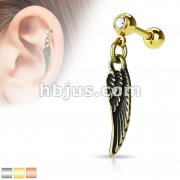 Angel Wing Dangle 316L Surgical Steel Jewel set Cartilage/Tragus Barbells
