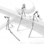 Bar on Chain and Triangle Dangle Crystal Set 316L Cartilage, Tragus Barbell Stud