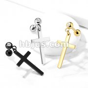 Cross Dangle Crystal Set 316L Cartilage, Tragus Barbell Stud
