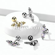316L Surgical Steel Cartilage Barbell with 2 CZ and Ball Clusters