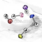 Prong Set Zircon Cabochon Stone 316L Surgical Steel Cartilage, Tragus Barbell Studs