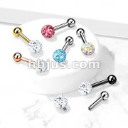 Internally Threaded 316L Surgical Steel Cartilage Barbells with Epoxy Covered Crystal Paved Bal Top