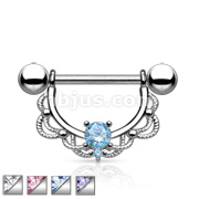 CZ Centered Fligree Drop 316L Surgical Steel Nipple Rings
