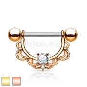 CZ Centered Fligree Drop 14Kt. Gold Plated 316L Surgical Steel Nipple Rings