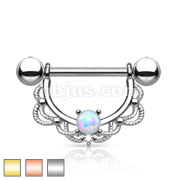 Opal Centered Fligree Drop 316L Surgical Steel Nipple Rings