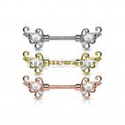 Dozen Pack CZ Set Floral Filigree Ends 316L Surgical Steel Nipple Barbells (4 Pcs x 3 Colors)