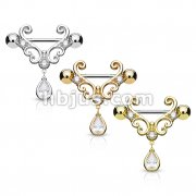 Dozen Pack CZ Set Heart Filigree with Tear Drop CZ Dangle 316L Surgical Steel Nipple Rings (4 Pcs x 3 Colors)