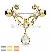 CZ Set Heart Filigree with Tear Drop CZ Dangle 316L Surgical Steel Nipple Rings