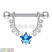 Star CZ Center with Lined Prong Set CZs Dangle 316L Surgical Steel Nipple Rings