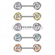 50 Pcs CZ Centered Rose Blossom Ends 316L Surgical Steel Nipple Barbell Rings Bulk Packs (10 Pcs x 5 Colors)