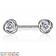 CZ Centered Rose Blossom Ends 316L Surgical Steel Nipple Barbell Rings