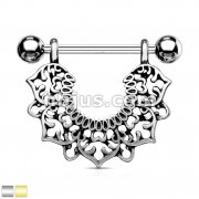 Filigree Flower Dangle 316L Surgical Steel Nipple Rings
