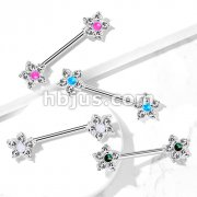 5 CZ Flower with Opal Glitter Center 316L Surgical Steel Nipple Barbell Rings