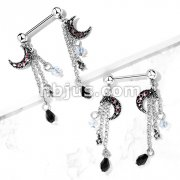 CZ Set Antique Silver Plated Moon with CZ Center Antique Silver Plated Star and Faceted Beads Chain Dangle 316L Surgical Steel Nipple Barbell Rings