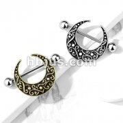 Crescent Shaped Filigree 316L Surgical Steel Nipple Shield Ring