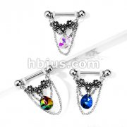 Triple Crystal Center Flower with Pear Crystal and Chains Dangle 316L Surgical Steel Nipple Barbell Rings