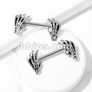 Skull Hand Ends 316L Surgical Steel Barbell Nipple Rings