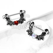Angel Wings With Heart-Centered Crystal 316L Surgical Steel Nipple Shield Ring