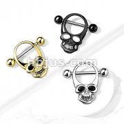 Skull With Enamel Eyes 316L Surgical Steel Nipple Shield Ring