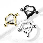 Heart Shaped 316L Surgical Steel Nipple Shield Ring