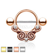 Floral Filigree Design 14 auge Nipple Rings Mix Bulk Pack (10 pcs x 4 Colors)