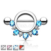 Five gems on the ring shield 316L Surgical Steel Nipple Shield