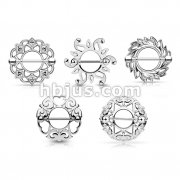 50pcs Tribal Sheild Nipple Rings Mixed Styles Bulk Packs (10pcs x 5 Styles)