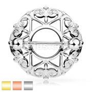 Heart Filigree Round Nipple Shield with 316L Surgical Steel Barbell