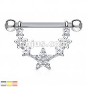 CZ Paved Linked Stars 316L Surgical Steel Nipple Rings