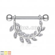 CZ Paved Leaf Hanging 316L Surgical Steel Barbell Nipple Rings
