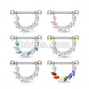 36 Pcs Marquise CZ Bridge Hanging 316L surgical Steel Nipple Barbell Rings Bulk Pack (6 pcs x 6 Colors)