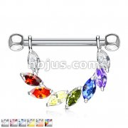 Marquise CZ Bridge Dangle Nipple Ring with 316L Surgical Steel Barbell
