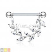 Marquise CZ Vine 316L Surgical Steel Barbell Nipple Rings