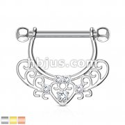 CZ Set Center Heart Filigree Dangle 316L surgical Steel Nipple Rings