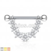 CZ Paved Linked Flowers Dangle 316L surgical Steel Nipple Rings