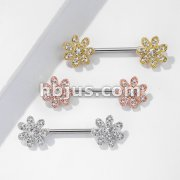 CZ Gem Paved Flower 316L Surgical Steel Nipple Barbell Rings