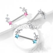 CZ Shooting Star Ends 316L Surgical Steel Nipple Barbell Rings