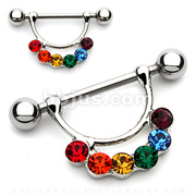 Rainbow Gem Attached 316L Surgical Steel Nipple Shield.
