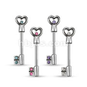 40pcs of Assorted Heart Key with CZ 316L Surgical Steel Nipple Bar Package (10 Pcs x 4 Colors