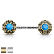 Turquoise Centered Tribal Heart Filigree Ends 316L Surgical Steel Nipple Barbells