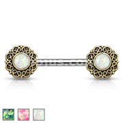 Opal Glitter Centered Tribal Heart Filigree Ends 316L Surgical Steel Nipple Barbells