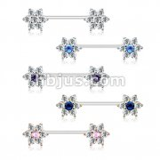 30 Pcs CZ Flower Ends 316L Surgical Steel Barbell Nipple Rings Bulk Pack (6 pcs x 5 Colors)