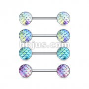 40 Pcs Fish Scale Set 316L Surgical Steel Barbell Nipple Ring Bulk Packs (10 Pcs x 4 Colors)