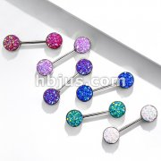 Druzy Stone Set Ends 316L Surgical Steel Barbell Nipple Rings