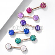 Druzy Stone Set Ends Rose Gold PVD Over 316L Surgical Steel Barbell Nipple Rings