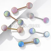 Holographic Dragon Scale Set Ends 316L Surgical Steel Barbell Nipple Rings