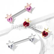Heart CZ with Crown 316L Surgical Steel Barbell Nipple Rings