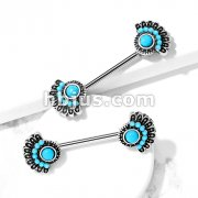 Turquoise Set Tribal Fan 316L Surgical Steel Nipple Barbells