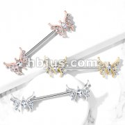 CZ Paved Butterfly with Marquise CZ Center 316L Surgical Steel Barbell Nipple Rings