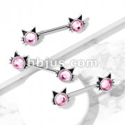 Cat with Pink Stone Set Ends 316L Surgical Steel Nipple Barbell Rings
